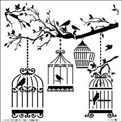 The Crafter's Workshop MINI BIRDS OF A FEATHER  6x6 Template TCW207s*