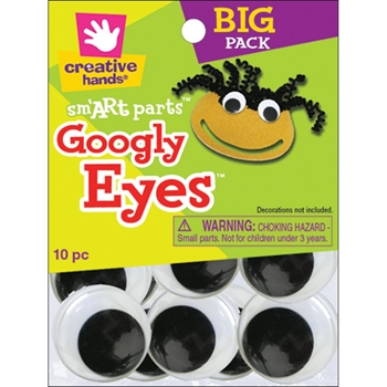 Creative Hands 10 BLACK GOOGLY EYES Big Pack 40mm