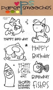 Paper Smooches BIRTHDAY BUDDIES Clear Stamps Kim Hughes