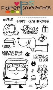 Paper Smooches SANTA PAWS Clear Stamps Kim Hughes