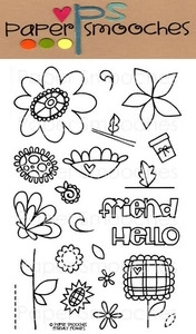 Paper Smooches FRIENDLY FLOWERS Clear Stamps Kim Hughes