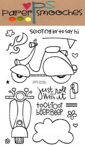 Paper Smooches SPIFFY SCOOTERS Clear Stamps Kim Hughes