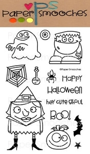 Paper Smooches HALLOWEENIES Clear Stamps Kim Hughes