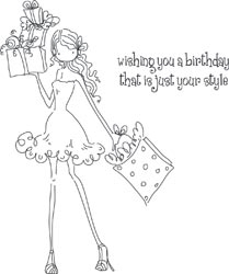 Stamping Bella Cling Stamp UPTOWN GIRL POSH HAS A PRESENT Rubber UM LL131 zoom image