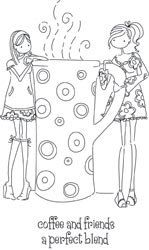 Stamping Bella Cling Stamp UPTOWN GIRLS CLARISSA AND CAMILLE SHARE A CAFE Rubber UM LL130 Preview Image