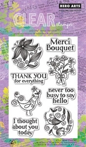 Hero Arts Clear Stamps MERCI BOUQUET CL580