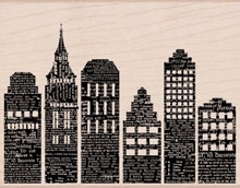 Hero Arts NEWSPAPER SKYLINE Rubber Stamp S5573 Designblock Preview Image