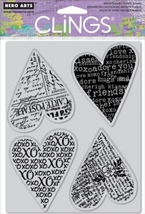 Hero Arts Cling Stamp FOUR HEARTS Rubber Unmounted CG426