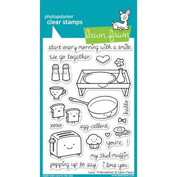 Lawn Fawn LOVE 'N BREAKFAST Clear Stamps