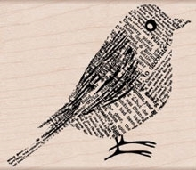 Hero Arts NEWSPRINT BIRD Rubber Stamp H5580 zoom image