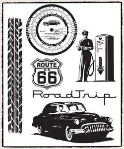 Tim Holtz Cling Rubber Stamps CMS128 ROAD TRIP