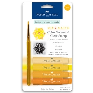 Faber-Castell YELLOW Gelatos Clear Stamp and Brush 4pk 770157