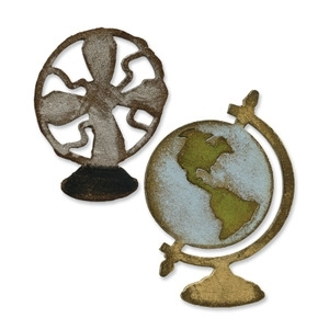 Tim Holtz Sizzix VINTAGE FAN & GLOBE Sizzix Die Movers Shapers 657838 Preview Image