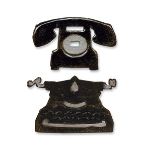 Tim Holtz Sizzix VINTAGE TELEPHONE & TYPEWRITER Dies Movers & Shapers 657839