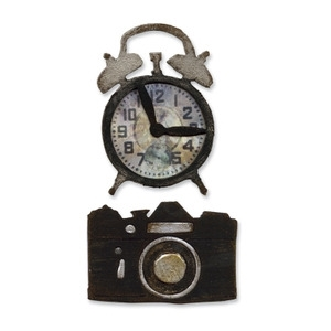 Tim Holtz Sizzix VINTAGE ALARM CLOCK & CAMERA Dies Movers & Shapers 657840 zoom image