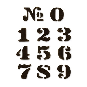 Tim Holtz Sizzix CARGO STENCIL NUMBER SET Dies Movers & Shapers 657841 Preview Image