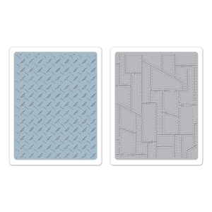 Tim Holtz Sizzix DIAMOND PLATE & RIVETED METAL Texture Fades 657848 zoom image
