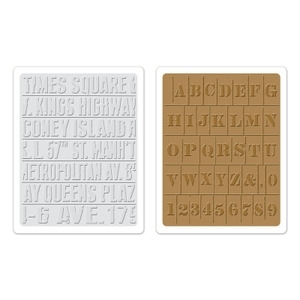 Tim Holtz Sizzix SUBWAY & STENCIL Embossing Folders 657948 zoom image