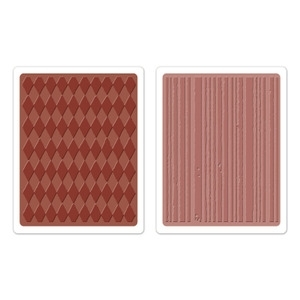 Tim Holtz Sizzix HARLEQUIN & STRIPES Texture Fades Embossing Folders 657849 zoom image