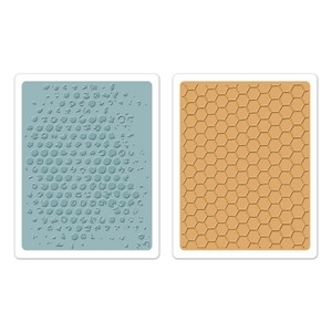 Tim Holtz Sizzix BUBBLE & HONEYCOMB Texture Fades Embossing Folders 657846 Preview Image