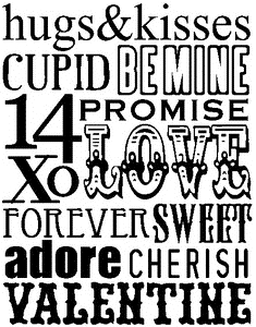 Tim Holtz Rubber Stamp VALENTINE WORDS Stampers Anonymous X1-1787