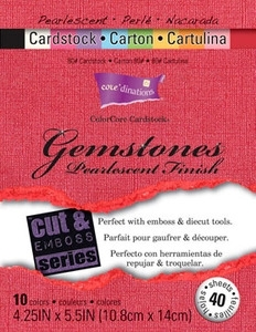 """Core'Dinations GEMSTONES 4.25 x 5.5"""" Pearlescent Finish Cardstock 80# 40 Sheets GX-1750-01"""