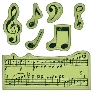 Inkadinkado Mini Cling Stamps MUSIC NOTES Rubber Unmounted 60-60152 Preview Image