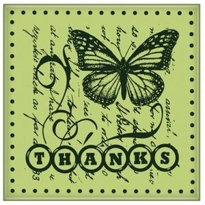 Inkadinkado Mini Cling Stamps THANKS Rubber Unmounted 60-60143