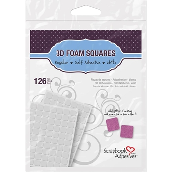 Scrapbook Adhesives 126 3D WHITE FOAM SQUARES Adhesive 01610