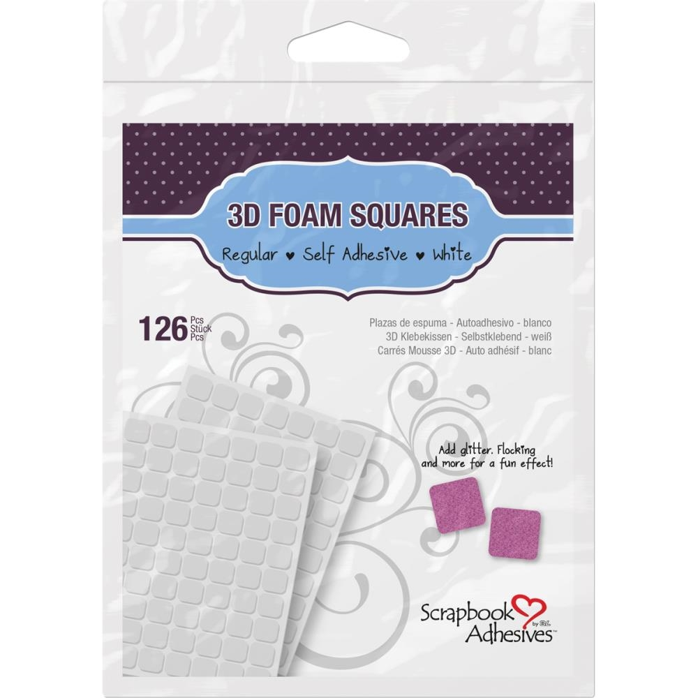 Scrapbook Adhesives 126 3D WHITE FOAM SQUARES Adhesive 01610 zoom image