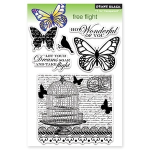 Penny Black Clear Stamps FREE FLIGHT Transparent 30-117 zoom image